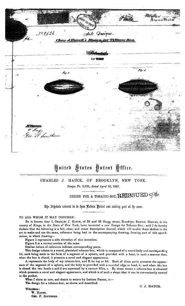 1867 Patent of Charles J. Hauck