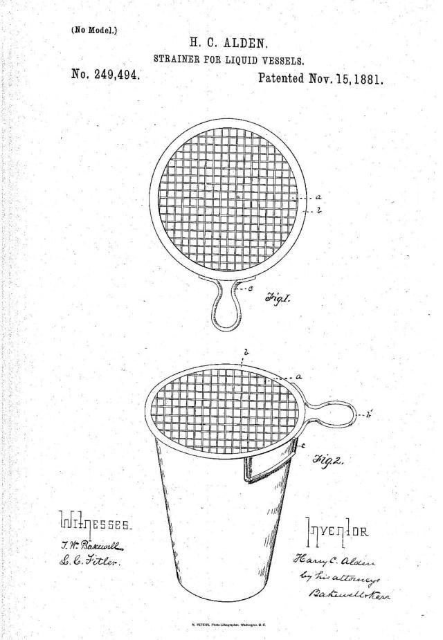1881 Alden Drink Strainer Patent