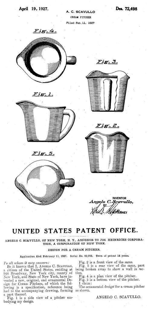 1927 Scavullo Patent No. 72498